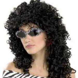 80's Wild Curl - Black Halloween Costume Wig NEW